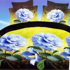 """Постельное белье Рино из сатина с эффектом 5Д """"Голубые цветы"""" 1.5 спальное"""