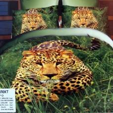 """Постельное белье из сатина с эффектом 5Д """"Леопард"""" семейный"""