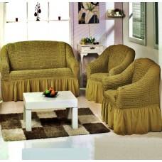 """Комплект универсальных чехлов на диван и кресла """"Шарм"""" Турция цвет горчично-коричневый"""