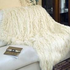 Плед-покрывало полутораспальный 160*210см из искусственного меха 547-60 цвет молочный