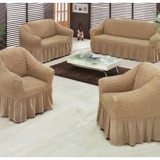 """Набор универсальных чехлов для мягкой мебели """"Шарм"""" 65-46 на резинке цвет бежевый"""