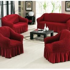 """Набор универсальных чехлов для мягкой мебели """"Шарм""""  28-09 на резинке цвет бордовый"""