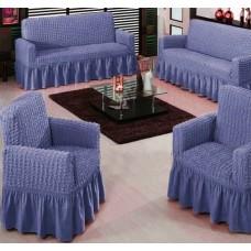 """Комплект универсальных элластичных чехлов на диван и кресла """"Шарм"""" 00097 цвет сиреневый"""