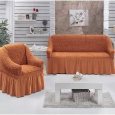 """Комплект универсальных элластичных чехлов на диван и кресла """"Шарм"""" 00099-18 цвет ПЕСОЧНЫЙ"""