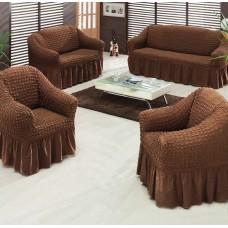 """Набор универсальных чехлов для мягкой мебели """"Шарм"""" 14-77 на резинке цвет коричневый"""