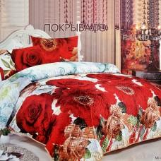 """Покрывало на кровать атласное из искуссвенного шёлка FULL-HD  """"Розалинда"""" евро 230*250"""