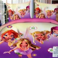 """Комплект постельного белья из сатина с эффектом 5D """"Винкс"""" полутораспальный"""