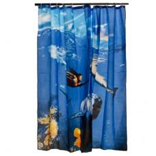 """Штора для ванной комнаты из ткани с водоотталкивающей пропиткой 461-397 """"Подводный мир"""" 3Д эффект"""