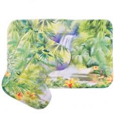 """Набор ковриков для ванной комнаты и туалета из микрофибры """"Тропический водопад"""" из 2 штук"""