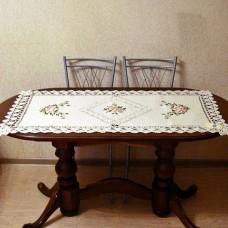 Салфетка дорожка льняная 1007 прямоугольная 60*120см с вышивкой лентами