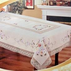 Скатерть льняная овальная 2782 с вышивкой лентами 120*160см