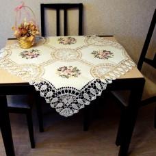 Столешница 8906 льняная квадрат 85* 85 см. с вышивкой