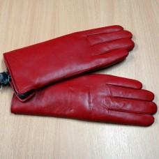 Перчатки женские зимние из натуральной кожи с натуральным мехом COHU  Н:452 цвет красный Чехия