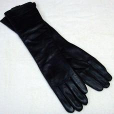 Перчатки женские из натуральной кожи  Onno черные удлиненные