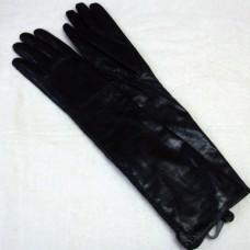 Перчатки женские из натуральной кожи с декоративной косичкой Romika Н3585 черные удлиненные