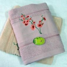"""Полотенце махровое банное с вышивкой """"Сакура"""" 70*140см 100% хлопок"""