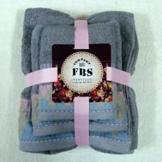"""Набор махровых полотенец из 3х штук """"FBS-03"""" цвет серый"""