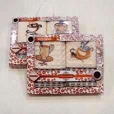 """Набор вафельных полотенец из 2-х шт в подарочной коробке """"Кофе"""""""