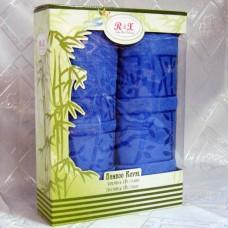 """Набор махровых полотенец в подарочной коробке """"Бамбук"""" цвет синий"""