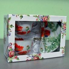 "Чайный набор из фарфора BRISWILD ""Цветы мака"""