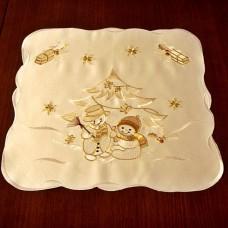 Салфетка новогодняя с вышивкой 106001-1 Снеговики 40см
