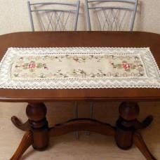 Салфетка дорожка изо льна с вышивкой 133048 Цветущий садик