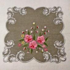 """Салфетка ришелье с вышивкой 158170 """"Розовый цветок"""" 40*40см"""