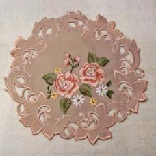 """Салфетка ришелье с вышивкой 116075-1 """"Бежевая роза"""" 40*40см"""