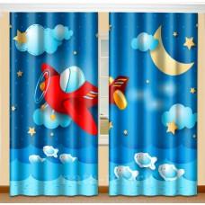 Фотошторы для детской комнаты с эффектом объемного рисунка 3D Вертолётик 155*270см
