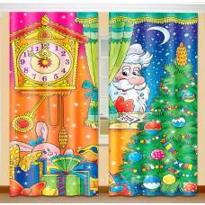 Фотошторы для детской комнаты с эффектом объемного рисунка 3D Новый год 155*270см