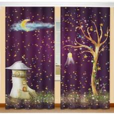 Фотошторы для детской комнаты с эффектом объемного рисунка 3D Полнолуние 155*270см