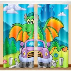 Фотошторы для детской комнаты с эффектом объемного рисунка 3D Дракоша 155*270см