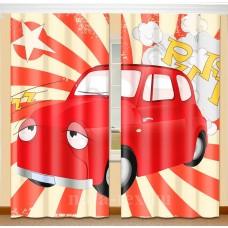 Фотошторы для детской комнаты с эффектом объемного рисунка 3D Машинка 155*270см