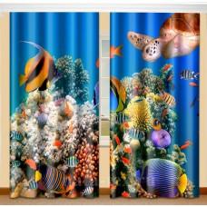 Фотошторы для детской комнаты с эффектом объемного рисунка 3D Голубая лагуна 155*270см