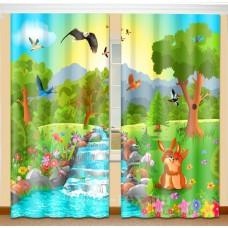 Фотошторы для детской комнаты с эффектом объемного рисунка 3D Голубая речка 155*270см