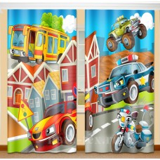 Фотошторы для детской комнаты с эффектом объемного рисунка 3D Тачки 155*270см