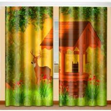Фотошторы для детской комнаты с эффектом объемного рисунка 3D Бэмби 155*270см