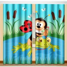 Фотошторы для детской комнаты с эффектом объемного рисунка 3D Божья коровка 155*270см