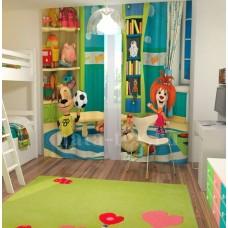 Фотошторы для детской комнаты с эффектом объемного рисунка 3D Барбоскины 155*270см