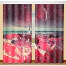 Фотошторы для детской комнаты с эффектом объемного рисунка 3D Розовый город 155*270см
