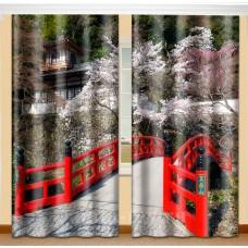 Фотошторы с эффектом объемного рисунка 3D Мост 155*270см
