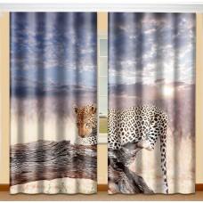 Фотошторы с эффектом объемного рисунка 3D Леопард 155*270см