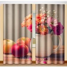 Фотошторы с эффектом объемного рисунка 3D Натюрморт 155*270см