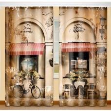 Фотошторы с эффектом объемного рисунка 3D Парижский дворик 155*270см