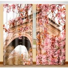 Фотошторы с эффектом объемного рисунка 3D Весна в Париже 155*270см