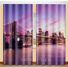 Фотошторы с эффектом объемного рисунка 3D Бруклинский мост 155*270см
