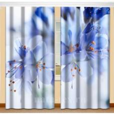 Фотошторы с эффектом объемного рисунка 3D Блики на голубом 155*270см
