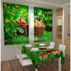 Фотошторы для кухни с эффектом объемного рисунка 3D Фруктовый урожай 155*180см