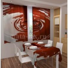 Фотошторы для кухни с эффектом объемного рисунка 3D Шоколад 155*180см