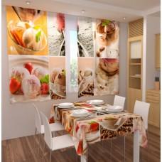 Фотошторы для кухни с эффектом объемного рисунка 3D Сладости 155*180см